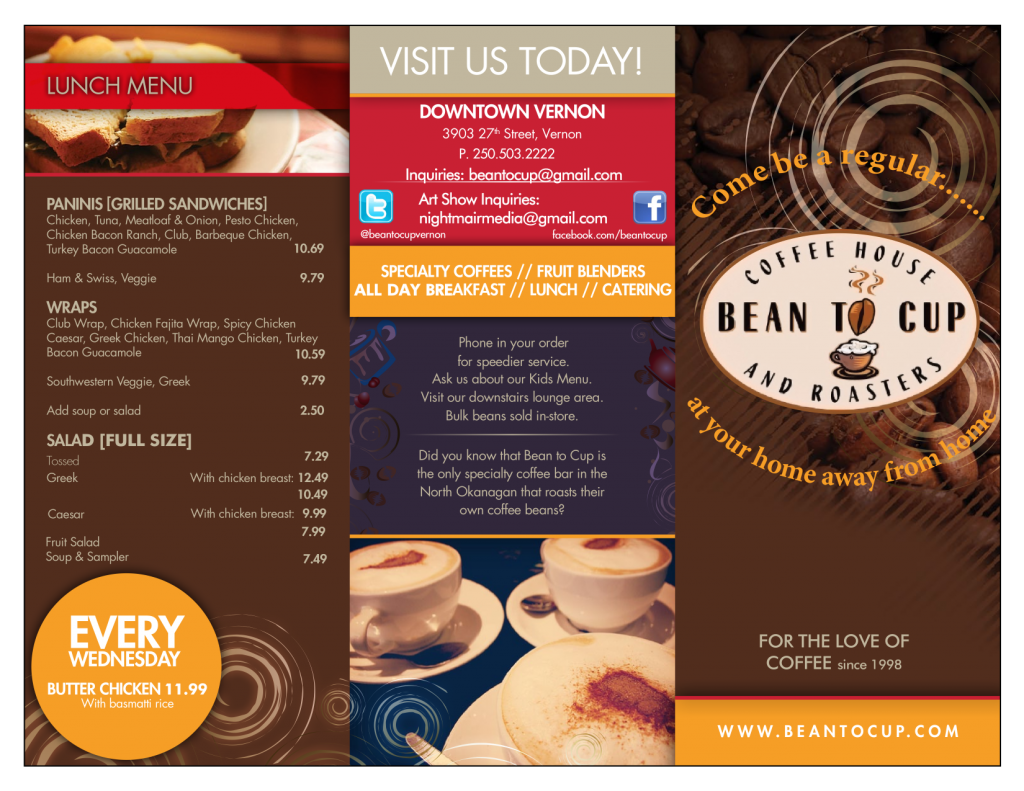Bean to Cup menu page 1