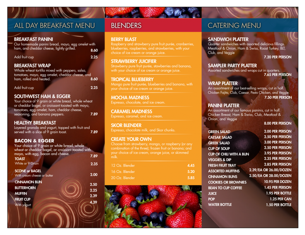 Bean to Cup menu page 2